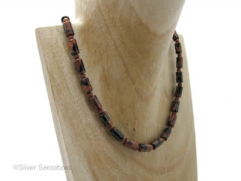 Sparkly Midnight Navy Blue & Tan Brown Goldstone Sandstone Tubes Sterling Silver Necklace
